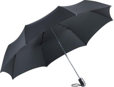 schwarzer Taschenschirm mit Griffschlaufe