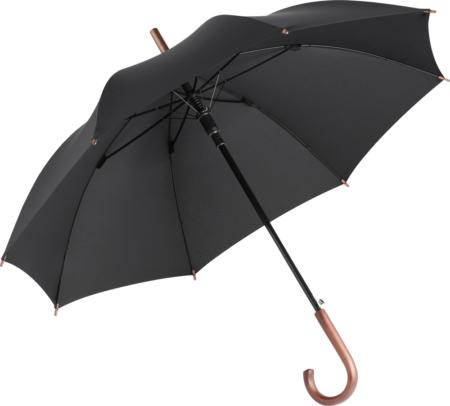schwarzer Regenschirm mit Rundhakengriff