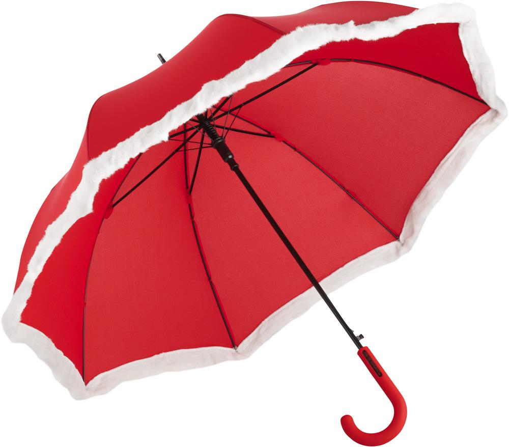roter Regenschirm im Weihnachtslook