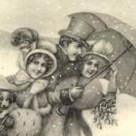 Regenschirm auf historischer Ansichtskarte