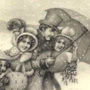 eine sehr alte Ansichtskarte zeigt Menschen mit einem Regenschirm
