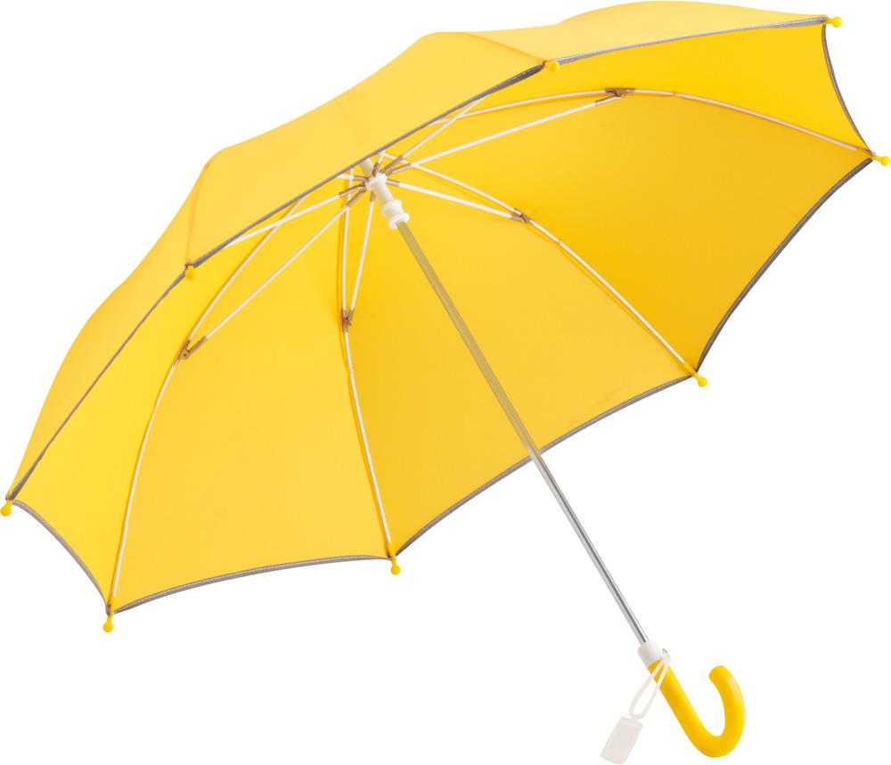 Regenschirm für Kinder mit gelbem Bezug iund reflektierender Paspelierung