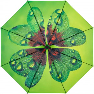Farbenfroher Regenschirm mit Innendruck Kleeblatt; Art. 5593