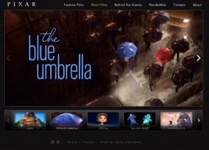 Screenshot Pixar Film über einen verliebten Regenschirm