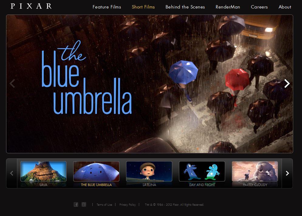 Screenshot Pixar Film über über verliebten Regenschirm