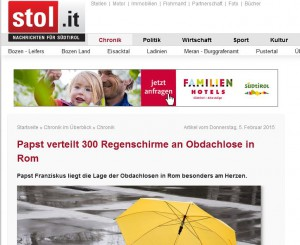 Berichterstattung über Verteilaktion Franziskus'