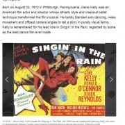 Gene Kelly mit Regenschirm auf Filmplakat