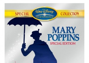 Screenshot Mary Poppins mit Regenschirm; DVD-Cover