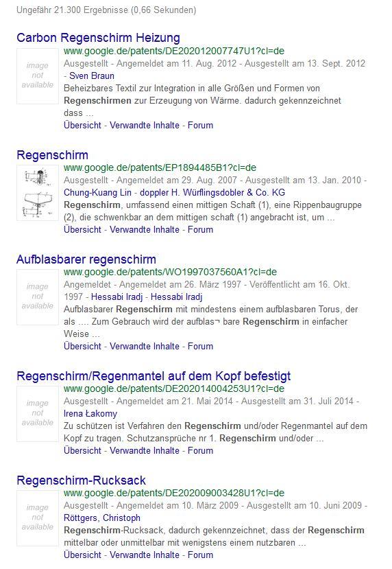 Patentanmeldungen von Regenschirmen