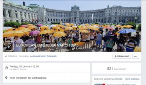 Screenshot der Facebookseite des European Umbrella March 2015