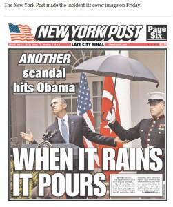 Regenschirm über Obama