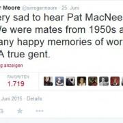 Tweet über den Tod von P. MacNee, der mit Regenschirm und Bowler hat berühmt wurde