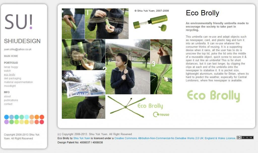 Designstudie Regenschirm Eco Brolly