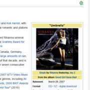 Regenschirme / Umbrella von Rihanna. Screenshot Wikipedia