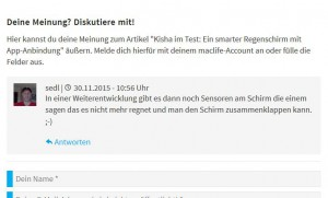 Screenshot Diskussionsbeitrag innovative Regenschirme