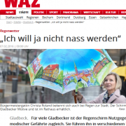 Screenshot mit Schlagzeile zum Thema Regenschirme