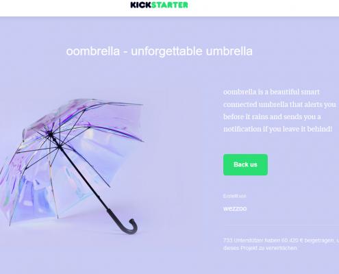 Oombrella Regenschirme auf Kickstarter