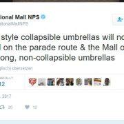 Screenshot Tweet betreffend Taschenschirme zur Vereidigung von Präsident Trump