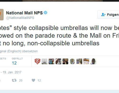 Zur Vereidigung von Trump durften keine Stockschirme mitgebracht werden