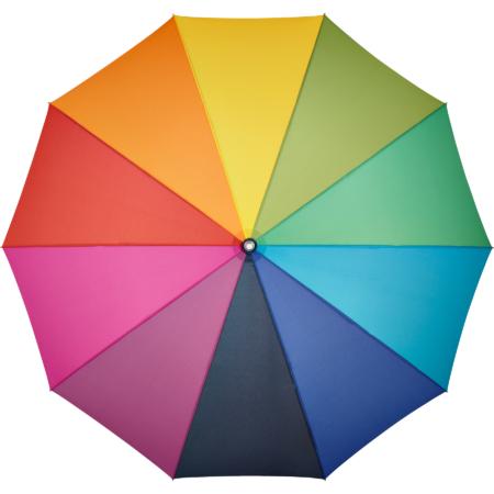 Ein Regenschirm mit Bezug in allen Farben des Regenbogens