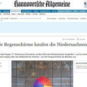 Screenshot HAZ Artikel über Regenschirme