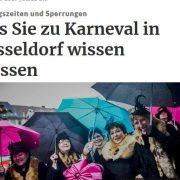 Screenshot eines Artikels über feierende Jecken mit diversen Regenschirmen in Düsseldorf
