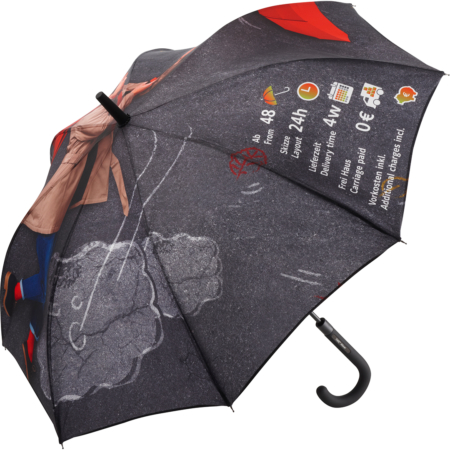 dieser Regenschirm kann vollflächig mit Ihrem Wunschmotiv bedruckt werden