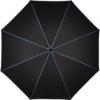 schwarzer Regenschirm-Bezugstoff mit blauen Nähten