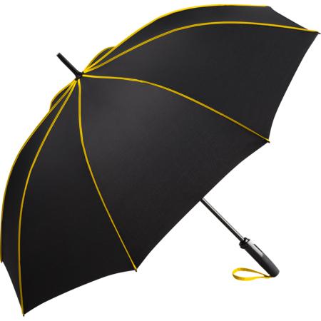 schwarzer Stockschirm mit gelben Nahtpaspeln