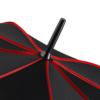 Detailaufnahme eines Regenschirms mit farbigen Keilnahtpaspeln
