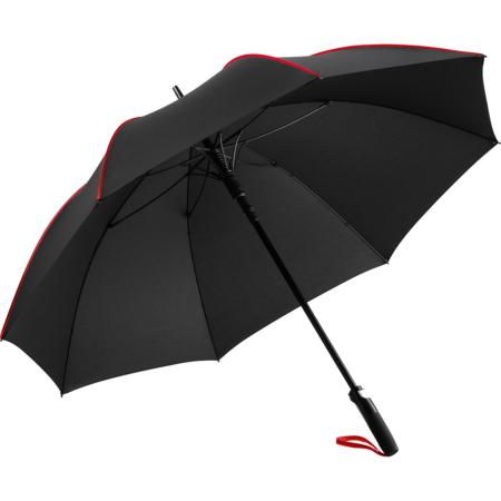 schwarzer Stockschirm mit Stahlstock und farbiger Griffschlaufe