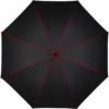 schwarzer Regenschirm-Bezugstoff mit roten Nähten