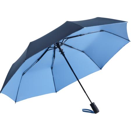 marine/hellblauer Regenschirm mit beschichtetem, zweifarbigen Bezug