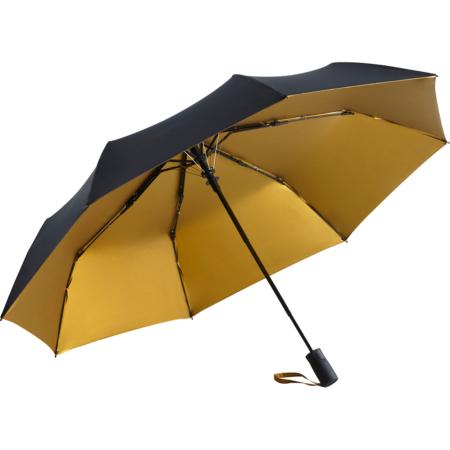schwarz/goldener Taschenschirm mit beschichtetem Bezug