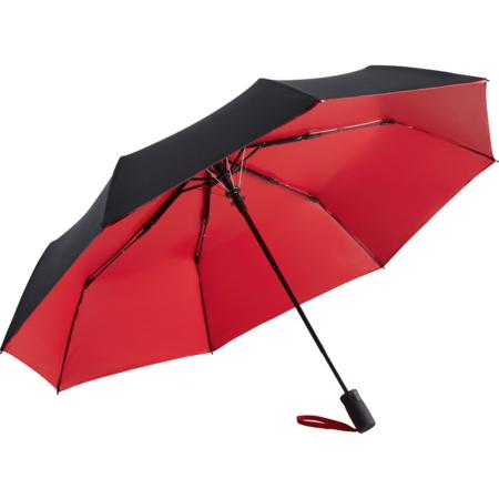 schwarz/roter Regenschirm mit zweifarbigem Bezug