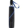 schwarzer Regenschirm im Futteral mit euro-blauer Griffschlaufe