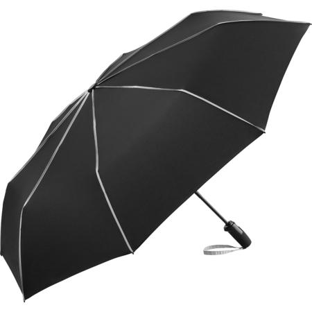 schwarzer Taschenschirm mit hellgrauen Keilnahtpaspeln