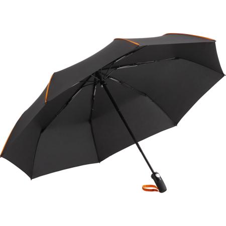 schwarzer Taschenschirm mit farbigen Keilnahtpaspeln und farbiger Griffschlaufe