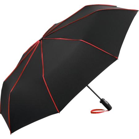 Taschenschirm mit roten Keilnahtpaspeln