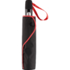 schwarzes Regenschirm-Futteral mit roter Paspelierung und roter Griffschlaufe