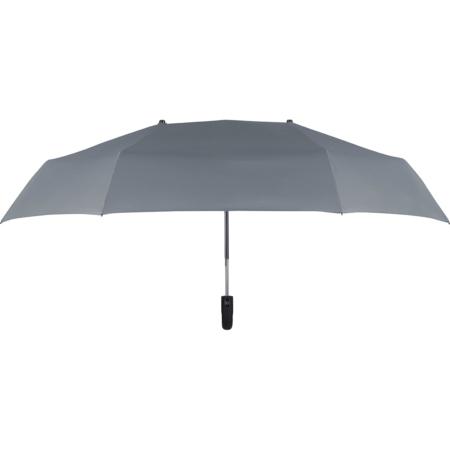 Frontalaufnahme eines grauen Regenschirms