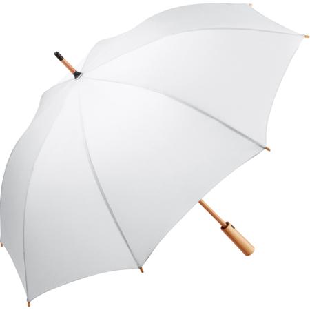 weißer Stockschirm mit geradem Bambus-Griff