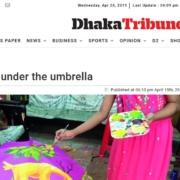 Kunstprojekt mit Regenschirmen
