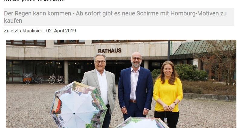 Präsentation der neuen Regenschirme der Stadt Homburg