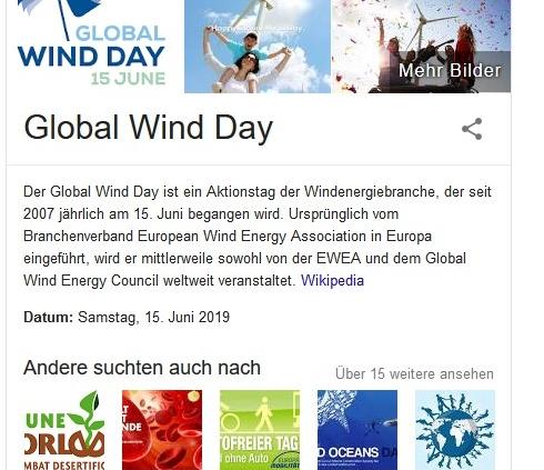 Screenshot für Regenschirme und Erläuterung Global Wind Day