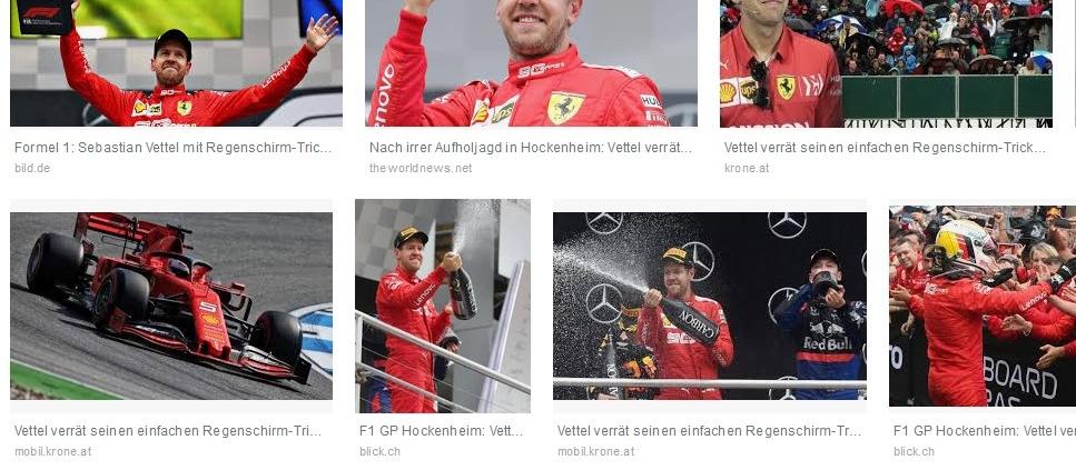 geschlossene Regenschirme bringen den Formel 1 Sieg